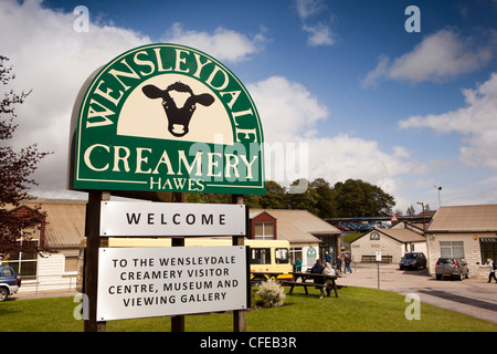 UK, England, Yorkshire, Hawes, Wensleydale Cheese Creamery entrance sign - Stock Photo