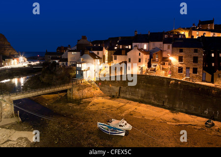 Night shot of Staithes - Stock Photo