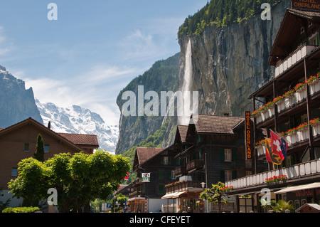 Staubbach Falls in Lauterbrunnen, Jungfrau Region, Switzerland, Europe - Stock Photo
