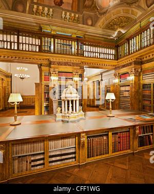 Deserted library at Palais Liechtenstein, 9. Bezirk, Alsergrund, Vienna, Austria, Europe - Stock Photo