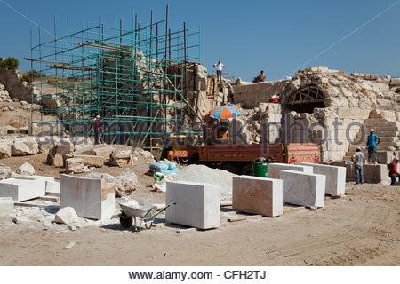 Renovation work at Patara's ancient ruins, Patara, near Kas, Turkey. - Stock Photo