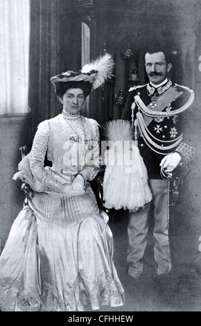KING VICTOR EMMANUEL III OF ITALY with his wife Queen Mary Elena in November 1903 - Stock Photo