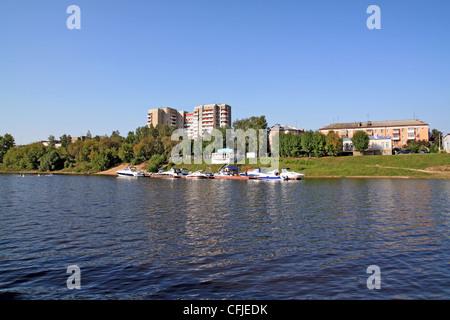 motorboat on quay - Stock Photo