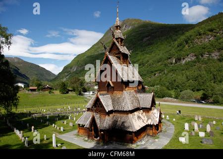 Borgund stave church, Sogn og Fjordane, Norway, Scandinavia, Europe - Stock Photo