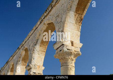 Arches on the temple mount in Jerusalem - Stock Photo