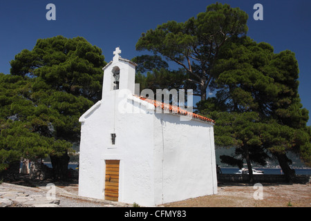 Chapel on the Sveti Nikola (St Nicholas) island. Budva. Montenegro - Stock Photo