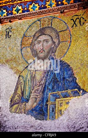 Byzantine mosaic of Christ Pantocrator,  Church of the Holy Wisdom ( Hagia Sophia Ayasofya ) Istanbul Turkey - Stock Photo