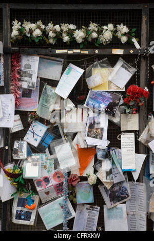 Letters, protests and tributes to a fictional character, Ianto Jones, killed off in the BBC series Torchwood, Cardiff - Stock Photo