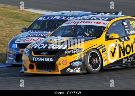 26th Aug 2012. Eastern Creek,Australia.  Action during the V8 Supercar Championship at the Sydney Motorsport Park,Australia - Stock Photo