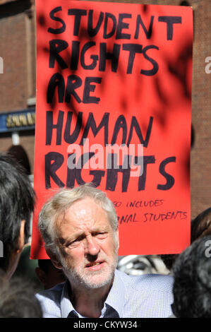 Westminster, London, UK. 5th September 2012. Jeremy Corbyn at the protest. London Metropolitan University protest - Stock Photo