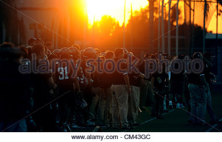 Sep. 29, 2012 - Glendora, California, U.S. - Sunset in the first half of a NCAA Division II football game between - Stock Photo