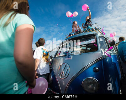 Sunday 14 Oct  Aberystwyth Wales UK  A convoy of 23 classic Volkswagen campervans and cars , including a very rare - Stock Photo