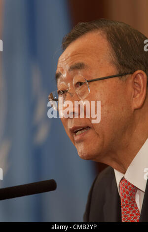 Ban Ki-moon, 8th Secretary-General  of the United Nations, at a press conference after summit on Afghanistan, in - Stock Photo