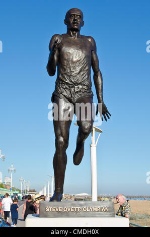 The statue of Olympic gold Medallist Steve Ovett unveiled on Brighton Seafront today. Tuesday 24th July 2012 photo©Julia - Stock Photo