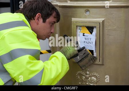 8th Aug 2012. Postbox painted gold commemorating  Nick Skelton`s equestrian gold medal at the 2012 London Olympics. - Stock Photo