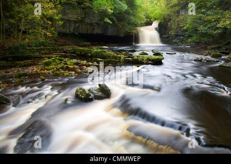 West Burton Waterfall, West Burton, Wensleydale, Yorkshire Dales National Park, Yorkshire, England, United Kingdom, - Stock Photo