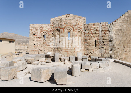 Rhodes. Greece. The 13th century Byzantine church of St John (Agios Ioannis) inside the 114 metre high Acropolis - Stock Photo