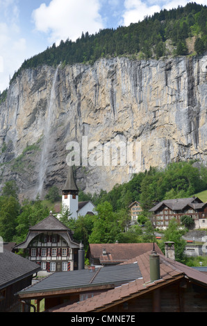 The town of Lauterbrunnen in the Bernese Oberland in Switzerland. - Stock Photo