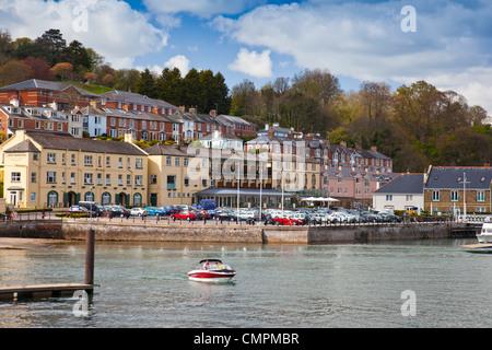 Luxury riverside hotel at the Dart Marina in Dartmouth, Devon, England, UK - Stock Photo