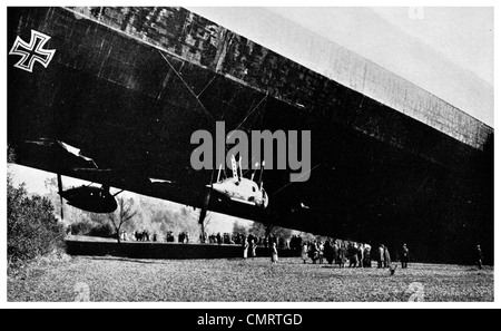 1918 German Zeppelin clipped by French Aaviator pilots airship - Stock Photo