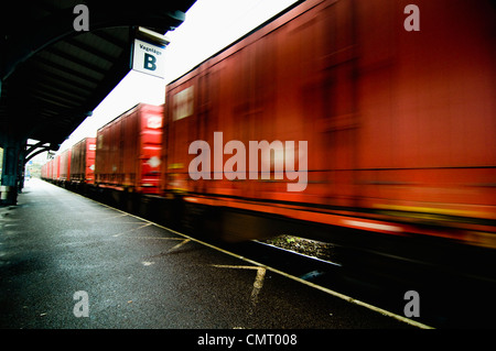 Blurred motion of freight train - Stock Photo