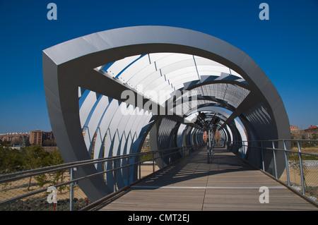 El Puente Arganzuela bridge in Madrid Rio new parkland recreational area around River Manzanares Madrid Spain Europe - Stock Photo