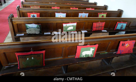 Pews and Kneelers, Cotswolds - Stock Photo