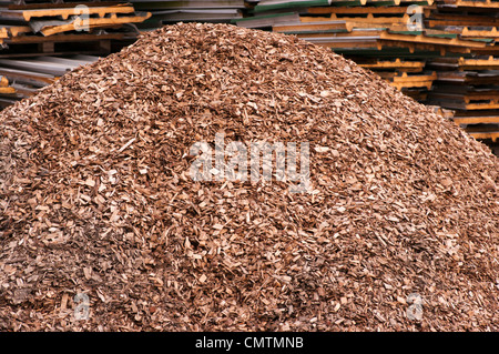 Pile Of Wood Chippings Shavings Garden Mulch - Stock Photo