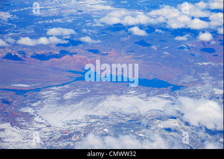 Abiquiu Lake in northern New Mexico, NM (aerial view) - Stock Photo