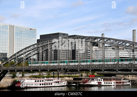 subway on Austerlitz bridge Seine river Paris France - Stock Photo