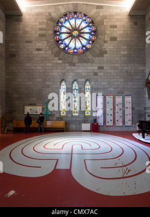 Interior of Christ Church Cathedral, New Zealand - South transept with rose window and a maze - Stock Photo