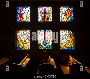 Interior of Christ Church Cathedral, New Zealand - stained glass window donated by the Lockyer family. - Stock Photo