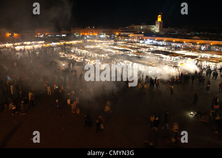food stall on the Jemaa el-Fnaa square in Marrakesh, Morocco - Stock Photo