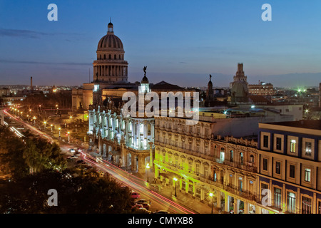 Panoramic view over Havanna Center with Capital at sunset, Cuba, Greater Antilles, Antilles, Carribean, West Indies, - Stock Photo