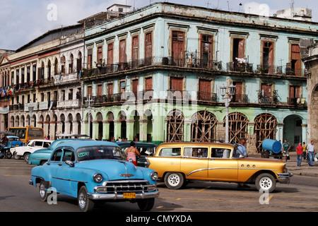 Oldtimer in Havanna Center on Paseo de Marti near Capitol, Cuba, Greater Antilles, Antilles, Carribean, West Indies, - Stock Photo