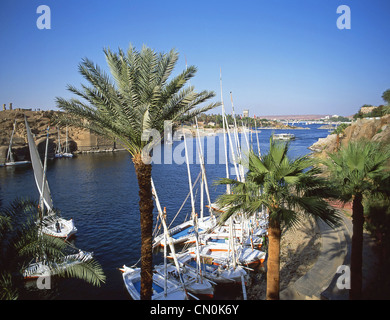 Feluccas on River Nile at Aswan, Aswan Governorate, Republic of Egypt - Stock Photo