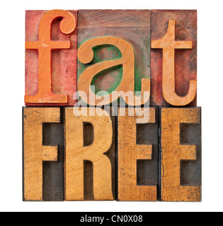 fat free - diet or nutrition concept - isolated text in vintage letterpress wood type - Stock Photo