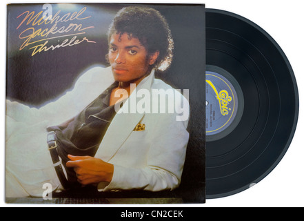 MICHAEL JACKSON classic vinyl album and cover THRILLER released 1982 on EPIC RECORDS label - Stock Photo