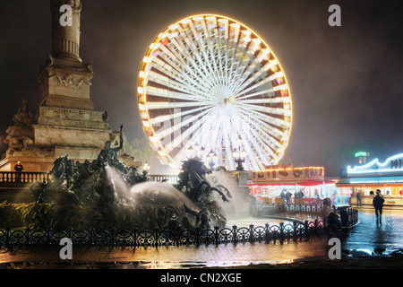 Ferris wheel at night, Bordeaux, France - Stock Photo