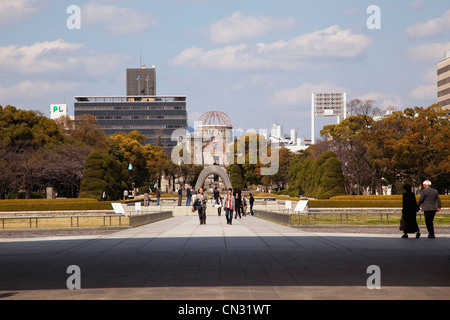 Hiroshima Peace Memorial Park with the A-Bomb Dome beyond, Hiroshima, Japan - Stock Photo
