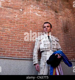Bullfighter wearing traditional clothing at opening ceremony, Las Ventas bullring, Madrid - Stock Photo