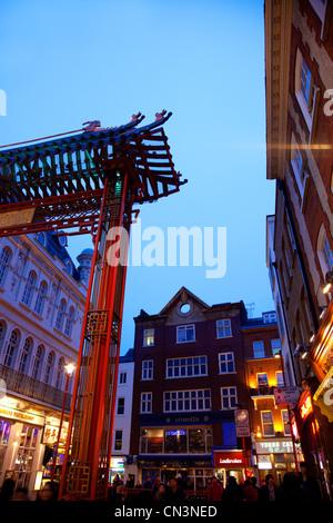 United Kingdom, London, Soho, Chinatown Gateway Gerrard Street - Stock Photo