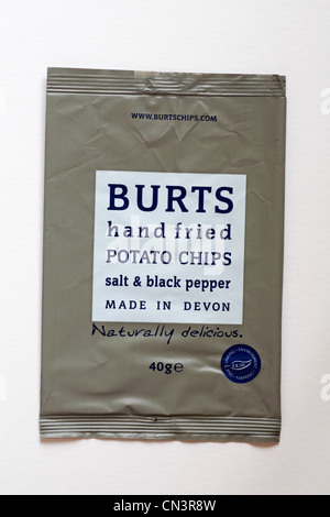empty packet of Burts hand fried potato chips salt & black pepper flavour crisps isolated on white background - - Stock Photo