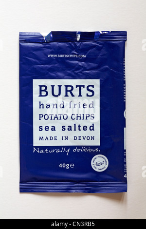 empty packet of Burts hand fried potato chips sea salted flavour crisps isolated on white background - naturally - Stock Photo