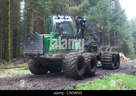 Commercial forestry a forwarder, all terrain vehicle, working picking up cut trees lumber in the forest Forestry - Stock Photo