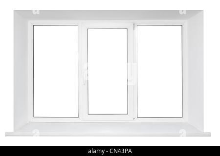 White plastic triple doors window frame with windowsill isolated on white background - Stock Photo