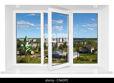 White plastic triple doors window frame with view on town street in it. Isolated on white background - Stock Photo