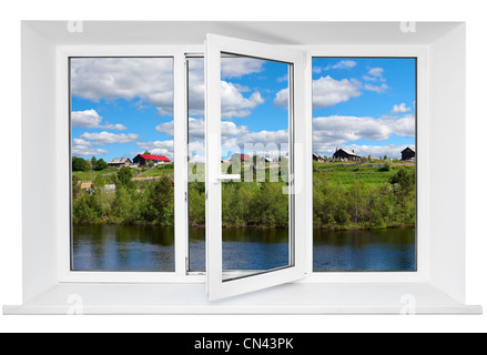 White plastic triple doors window frame with tranquil landscape in it. Isolated on white background - Stock Photo