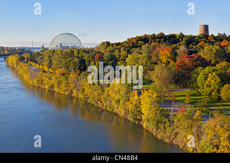 Canada, Quebec Province, Montreal, Ile Sainte Helene and the St. Lawrence River, the Biosphere and vegetation at - Stock Photo