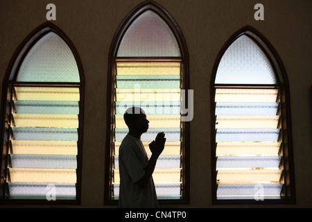 Prayer in church Lome. Togo.africa - Stock Photo
